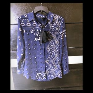 NWT Burberry Prorsum print silk blouse. Size : M